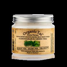ORGANIC TAI Скраб натуральный увлажняющий с гранулами жожоба для тела Лемонграсс и зеленый чай 200 г