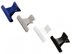 SIBEL Зажим пластиковый узкий, 4 цвета, 12 шт/уп (42061)