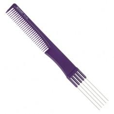 DEWAL BEAUTY Расческа для начеса, с металлическими зубцами, фиолетовая 19 см