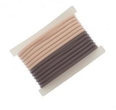 DEWAL PROFESSIONAL Резинки для волос силиконовые, коричневые/бежевые 12 шт/уп