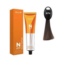 Ollin N-JOY 6/74 темно–русый коричнево-медный перманентная крем-краска для волос 100мл OLLIN PROFESSIONAL