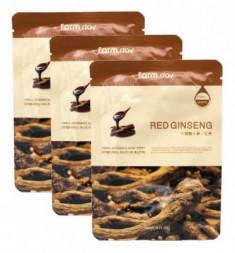 Набор тканевых масок с экстрактом корня красного женьшеня FarmStay RED GINSENG VISIBLE DIFFERENCE MASK SHEET 23мл*3