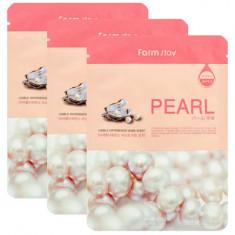Маска с экстрактом жемчуга FARMSTAY Pearl visible difference mask sheet 23мл*3 шт