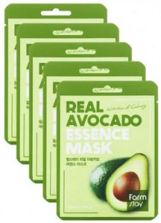 Набор тканевых масок с экстрактом авокадо FarmStay REAL AVOCADO ESSENCE MASK 23мл*5