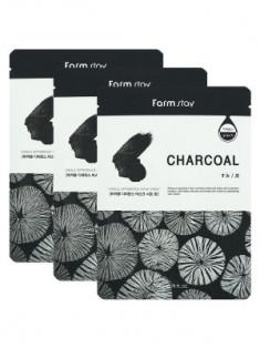 Набор тканевых масок с углем FarmStay CHARCOAL VISIBLE DIFFERENCE MASK SHEET 23мл*3шт