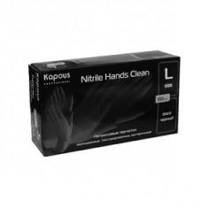 Нитриловые перчатки неопудренные, текстурированные, нестерильные «Nitrile Hands Clean», черные, 100 шт., р-р L (Kapous Professional)